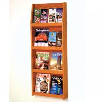 16 Pocket Literature Display - 4Hx4W - Medium Oak