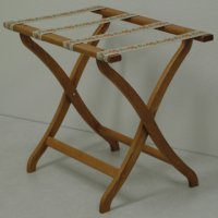 Designer Curve Leg Luggage Rack in Medium Oak - Tapestry Straps