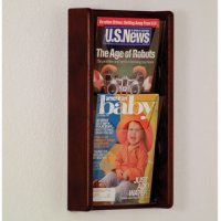 2 Pocket Solid Oak and Acrylic Literature Wall Display Rack - Mahogany