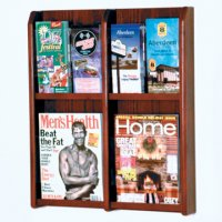 4 Magazine/8 Brochure Wall Display with Brochure Inserts - Mahogany