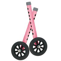 5 Inch Bariatric Walker Wheels with Two Sets of Rear Glides - Pink