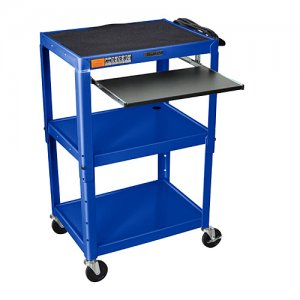 Royal Blue Adjustable Audio Visual (AV) Cart: Keyboard Drawer / Shelf