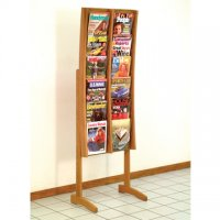 12 Pocket Medium Oak and Acrylic Curved Literature Floor Display Rack