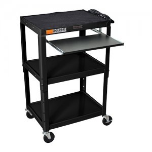 Black Rolling Audio Visual (AV) Utility Cart: Keyboard Shelf