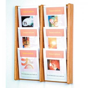 6 Pocket Solid Light Oak and Acrylic Literature Wall Display Rack