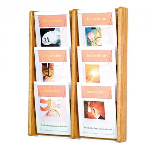 6 Pocket Oak and Acrylic Wall Mount / Literature Display Rack