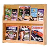 6 Magazine / 12 Brochure Oak Wall Display Literature Rack