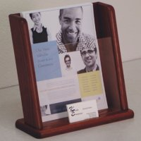 Countertop Literature Display with Business Card Pocket - Mahogany