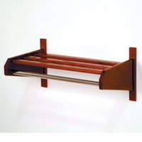 "32"" Mahogany Coat & Hat Rack with 5/8"" Diameter Chrome Hanger Bar"