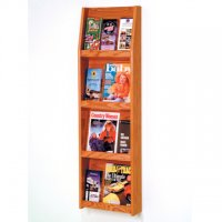 12 Pocket Literature Display - 4Hx3W - Mahogany