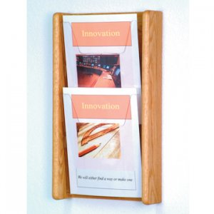 2 Pocket Light Oak and Acrylic Literature Wall Display Rack