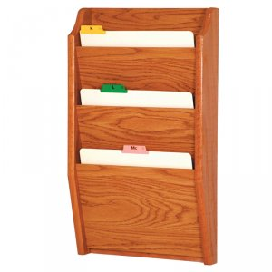 Chart and File Rack/Holder, Tapered Bottom Wall Mounted, 3 Pocket, Letter Size, Oak Wood Finish