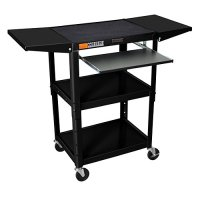 Black Rolling Adjustable Audio Visual Cart: Keyboard / Drop Shelves