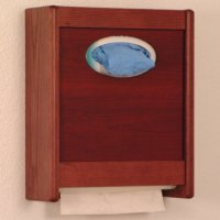 Combo Towel Dispenser & Glove/Tissue Holder - Mahogany