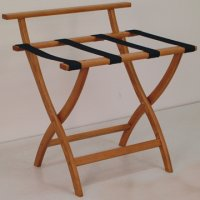 Medium Oak Luggage, Suitcase, or Briefcase Rack - Black Straps