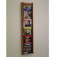 6 Pocket Oak and Acrylic Literature Wall Display Rack - Medium Oak