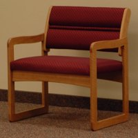 Office Waiting Room Bariatric Guest Chair - Medium Oak - Arch Wine