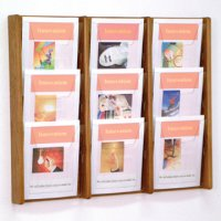 9 Pocket Solid Medium Oak and Acrylic Literature Wall Display Rack