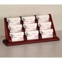 9 Pocket Countertop Business Card Holder - Mahogany