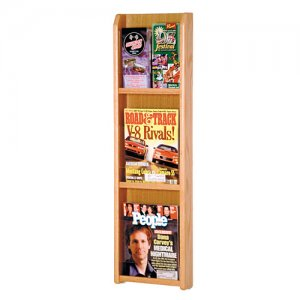 3 Magazine Oak and Acrylic Wall Mount / Literature Display Rack