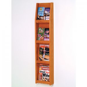 8 Pocket Literature Display - 4Hx2W - Medium Oak