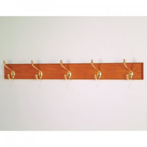 5 Hook Coat Rack with Brass Hooks - Medium Oak