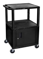 42 Inch 3 Shelf Plastic Rolling Utility (Service) Cart Black Cabinet