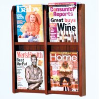 4 Magazine Wall Display - Mahogany
