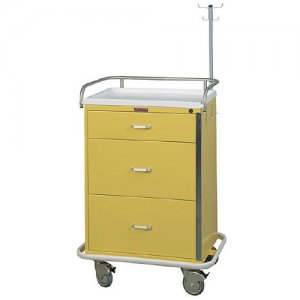 3 Drawer Medical Isolation / Infection Cart - Breakaway Lock Bar