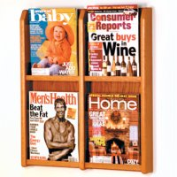 4 Magazine Wall Display - Medium Oak