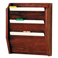 DMD Wood File Holder/Rack, Wall Mount 3 Pocket Legal Size, Mahogany Finish