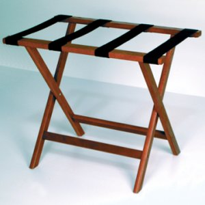 Deluxe Straight Leg Luggage Rack in Mahogany - Black Straps