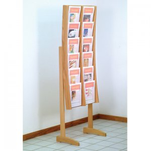 12 Pocket Light Oak and Acrylic Curved Literature Floor Display Rack