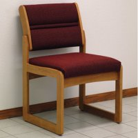 Reception and Waiting Room Armless Guest Chair - Medium Oak - Cabernet Burgun