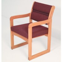 Reception and Waiting Room Chair - Light Oak - Cabernet Burgundy