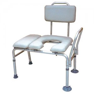 Bath and Shower Transfer Bench with Padded Seat and Commode Opening