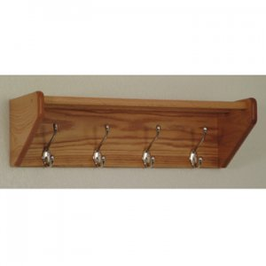 24 Inch Solid Oak Coat and Hat Rack with 4 Nickel Hooks - Light Oak