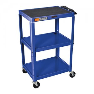 Blue Adjustable Audio Visual (AV) Utility Cart With 3 Shelves