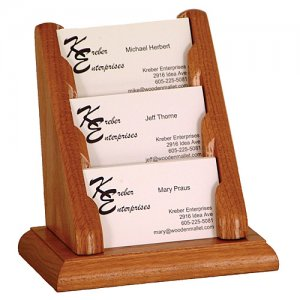 3 Pocket Countertop or Table Business Card Holder