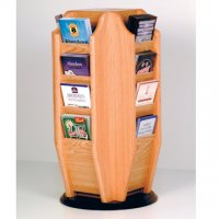 Spinning Countertop Display with 16 Brochure Pockets - Light Oak