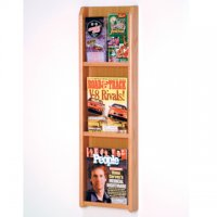 3 Magazine/6 Brochure Wall Display with Brochure Inserts - Light Oak