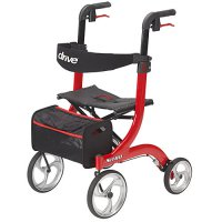 Nitro Aluminum Rollator Walker / Seat with 10 inch Front Wheels