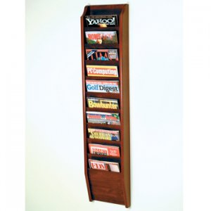 10 Pocket Wall Mount Magazine Rack - Mahogany