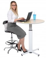 DMD Pneumatic Adjustable Round Pedestal Workstation Table