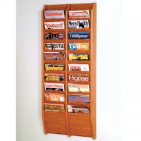 20 Pocket Wall Mount Magazine Rack - Medium Oak