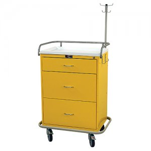 3 Drawer Medical Isolation / Infection Cart - Coat and Hat Rack