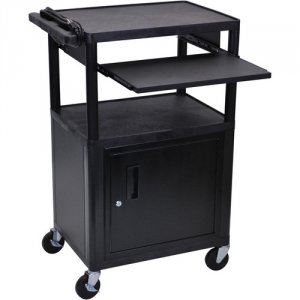 42 Inch Workstation Cart with Cabinet and Laptop Shelf - LP42CLE-B
