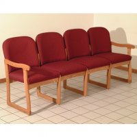 Office Waiting Room Four Seat Sofa - Medium Oak - Arch Wine