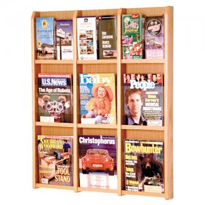9 Magazine / 18 Brochure Oak and Acrylic Wall Display Literature Rack