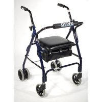 Mimi Lite Rollator / Rolling Walker with Push Brake - Dark Blue